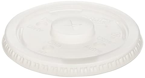 Dixie 914LSRD Plastic Lid, with Long Skirt and Selector Buttons, Fits 12 oz., 14 oz., 16 oz., and 21 oz. Dixie Paper Cold Cups , Translucent (12 Packs of 100)
