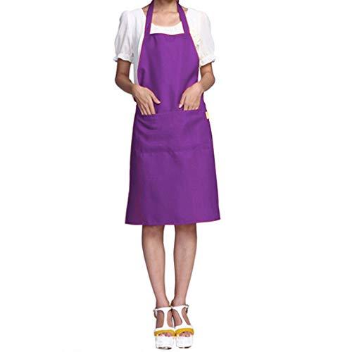 Kakiyi Solid Color übersichtliches Design Neckholder Schürze Polyester Kellner Baker Chefs Voll Latzeinsatz Taschen -