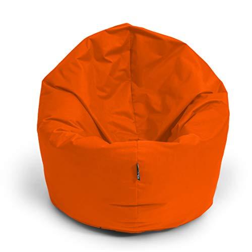 BuBiBag Sitzsack 2 in 1 Funktion Sitzkissen mit EPS Styroporfüllung 32 Farben Bodenkissen Kissen Sessel Sofa (145cm, Neonorange)