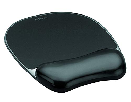 Fellowes tappetino per mouse con poggiapolso crystal gel, black