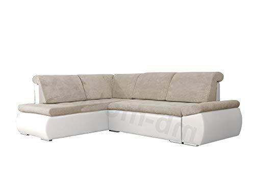 mb-moebel Ecksofa Sofa Eckcouch Couch mit Schlaffunktion und Bettkasten Ottomane L-Form Schlafsofa Bettsofa Polstergarnitur – Bonita