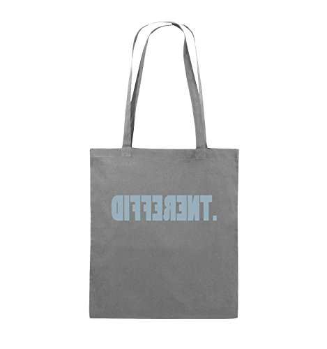 Comedy Bags - DIFFERENT - gespiegelt - Jutebeutel - lange Henkel - 38x42cm - Farbe: Schwarz / Silber Dunkelgrau / Eisblau
