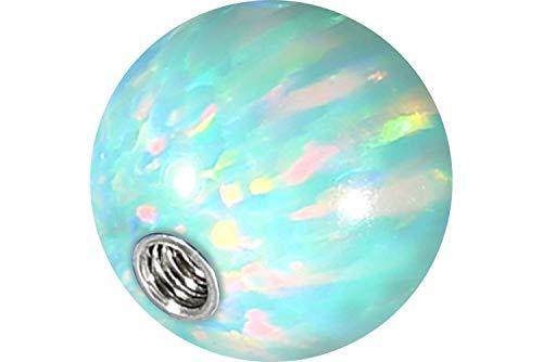 PIERCINGLINE® Synthetischer Opal Schraubkugel mit Chirurgenstahl-Gewinde 1,6 mm mintgrün 6 mm Kugel