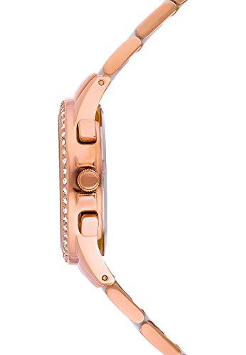 CHRIST times Damen-Armbanduhr bicolor (gold/rosé/silber) Keramik Analog Quarz One Size, perlmutt, rosé/weiß -