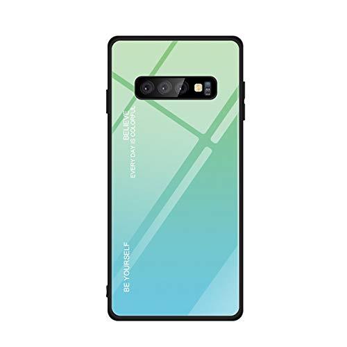 Hexcbay Reihe Glashülle kompatibel mit Samsung Galaxy S10 Hülle - Hartglas Handyhülle mit dualer Rückseite - Kratzfeste Schutzhülle mit weichem TPU Bumper (Samsung Galaxy S10, grün) -