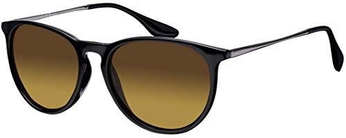 Sonnenbrille La Optica UV 400 Schutz Unisex Damen Herren Vintage Rund Round - Rahmen Schwarz Glänzend (Gläser: Braun)