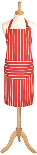 Inconnu Classic Butcher's Stripe - Tablier pour adulte, 100 % coton, longueur standard rouge Red