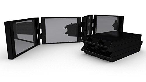 Miss Pouty 4 Steuerung erweiterbar kompakte Spiegel beweglicher stilvoller Travel Case Makeup Rasieren Grooming Spiegel-Schwarz- (Blk-steuerung)