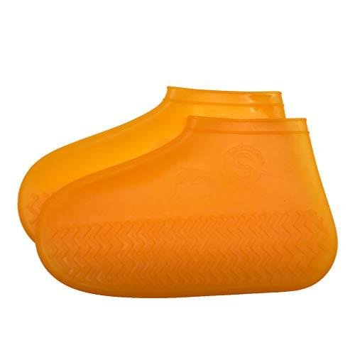 Überschuhe wasserdichte Schuhüberzieher Wiederverwendbare Verdickung rutschfeste Shoe Cover (Orange,S=26-34) ()