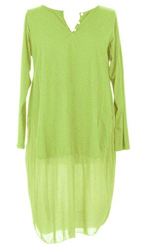 Mesdames Womens italien Lagenlook Long Manche 3 bouton U forme bas Parachute Cocoon coton Tunique robe taille unique 8-12 UK Vert Citron