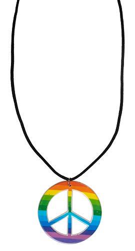 Andrea Moden Peace Halskette zum Hippie Kostüm - Multicolor - Schmuck Zubehör Kostüm 60er 70er 80er Jahre