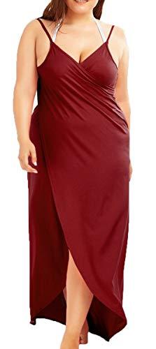 Rolansica Damen Strandkleid Wickelkleid Badeanzug Mehrfachverschleiß leicht schnell trocken leicht Wine 4XL -