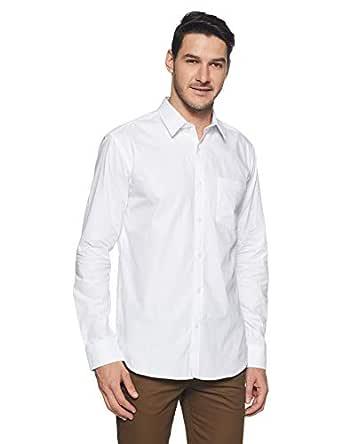 Park Avenue Men's Geometric Print Slim Fit Formal Shirt (PMSX11997-W1_White_39)