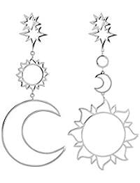 d626aecce7ef Delleu Las Mujeres asimétricas Sol Luna Pendientes de Gota de aleación  Grandes cuelgan los Pendientes Largos