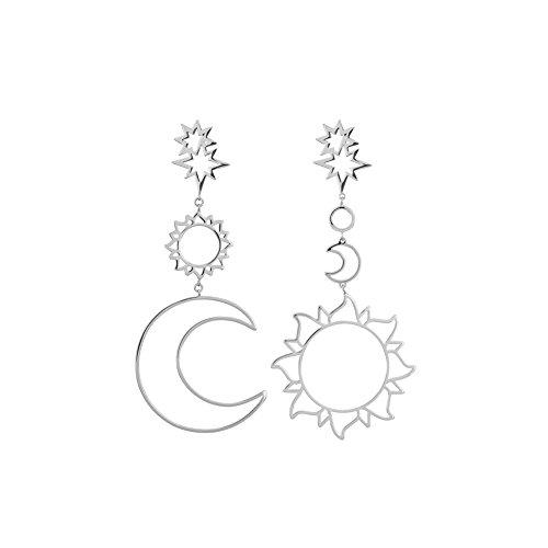 inge Damen Sonne Mond Geometrie Persönlichkeit Minimalistisch Schön Kreative Eleganz Tropfenohrringe für Geburtstag,Party,Bar, Halloween (Silber) ()