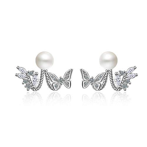 Singular point Imitation Perle Schmetterling ZurüCk HäNgen Ohrringe Temperament PersöNlichkeit Einfache MäDchen Herz Flut Ohrringe