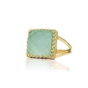 Anemone Jewelry Hübscher Aqua Blaue Ring – 14k Gold Gefüllter Ring mit Aqua Chalcedony Edelstein – Handwerkliche Edelsteinringe für Jede Gelegenheit – Komplexer Gold 14k Ring – Größen 3-12,5