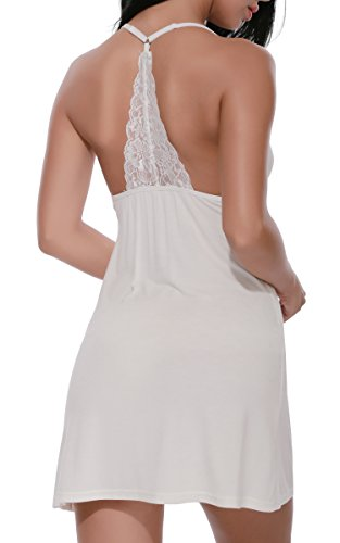 MIOIM®Vêtement De Nuit Femme V-neck Lace Lounge Robe Sexy Night Full Slips Blanc
