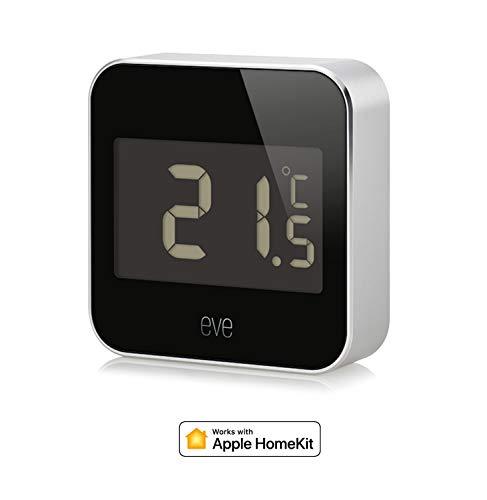 Eve Degree - Vernetzte Wetterstation zum Überwachen von Temperatur, Luftfeuchtigkeit und Luftdruck; mit LCD-Display, IPX3-Wasserbeständigkeit, Bluetooth Low Energy (Apple HomeKit)