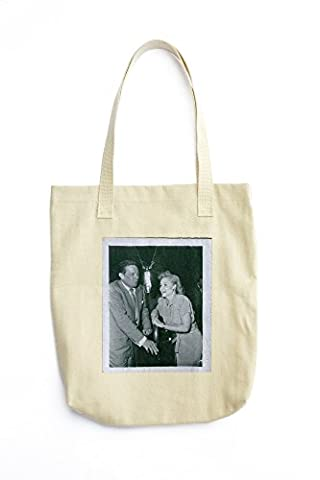 Tote bag with Dick Haymes and Margaret Whiting in the corner while in conversation. 1977