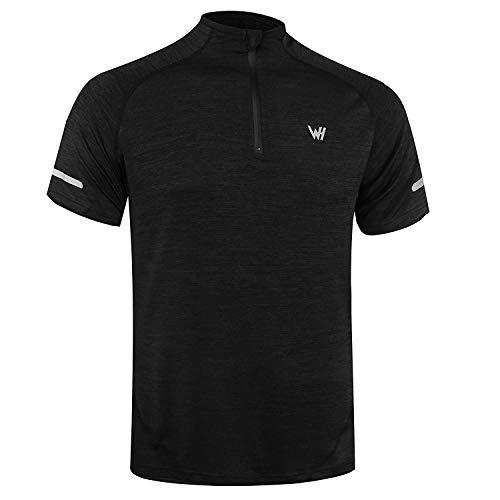 WHCREAT Herren Kurzarm Laufshirt 1/4 Zip T-Shirt Funktionsshirt mit Reflektoren - XL