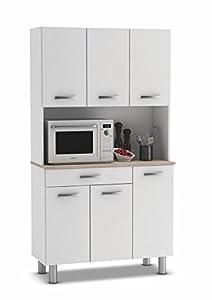 muebles de cocina: Armario alacena buffe aparador de Cocina con 6 Puertas. Blanco y Roble. para Alm...