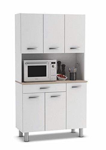 Armario alacena buffe aparador de Cocina con 6 Puertas. Blanco y Roble....