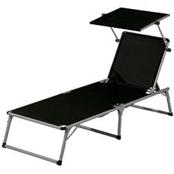Florabest hamaca de Aluminio color: negro, tamaño: L 193 x 67 x 32 cm, silla de playa, tumbona, resistente a la intemperie, resistencia UV y resistente