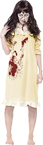 Damen Halloween Horror Fancy Party Kleid ZOMBIE Sinister Dreams Kostüm Outfit, Gelb