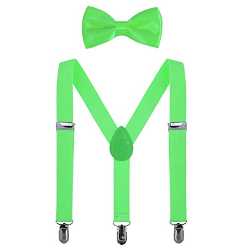 AWAYTR Kinder Hosenträger Krawatte Set -Einstellbar Länge 2.54cm Straps Mit Bogen Krawatte Set Für Jungen und Mädchen (Leuchtendes Grün)