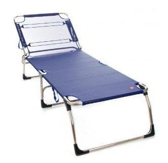 Jan Kurtz Fiam Amigo Big Chaise longue en aluminium/chaise longue trois pieds, Textile, Textilène, bleu foncé, Hauteur : 40 cm - Largeur : 75 cm - Profondeur : 207 cm - Poids : env. 9 kg