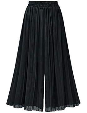 YuanDiann Donna Pantaloni Pieghe Elastica Vita Alta Culottes Sciolto Di Grandi Dimensioni Pantaloni Gamba Larga
