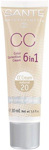SANTE Naturkosmetik 6in1 CC Cream natural, Beugt Pigmentflecken vor, Feuchtigkeitsspendend, Vegan, Bio-Extrakte, 30ml