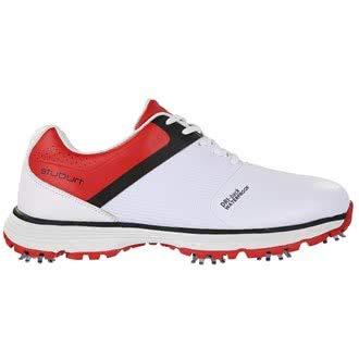 Stuburt SBSHU1111 - Scarpe da Golf da Uomo, Impermeabili, con Borchie, Colore: Bianco/Rosso, Taglia 42