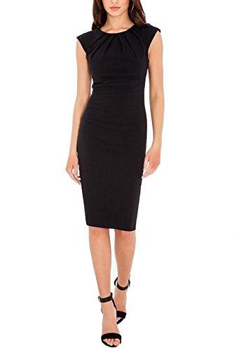 Balleay Femmes Vêtements de Travail Formel Carrière O-cou, Bodycon Entreprise Robe Crayon BA329554 Noir