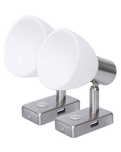 LIGHTEU, 2X 12V 3W D1 USB Decken- / Wandstrahler, Nickel-Finish, Nachttischlampe, Leselampe mit Touch-Schalter dimmbar warmweiß/blaues Licht für Yacht, Caravan, Wohnmobil