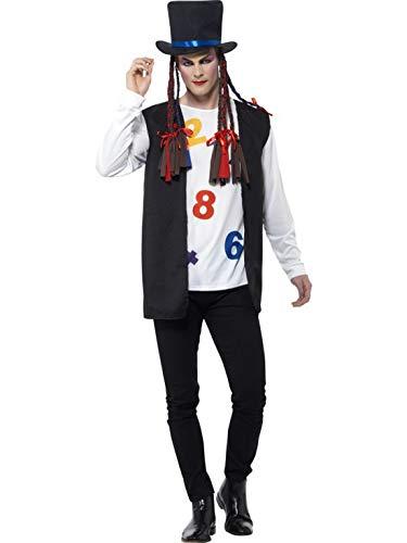 Luxuspiraten - Herren Männer 80er Jahre Popstar Kostüm mit Oberteil, Weste, Hut und Zöpfe, perfekt für Karneval, Fasching und Fastnacht, XL, Schwarz (Boy George Kostüm Halloween)