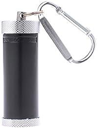 Quantum Abacus Mini-Aschenbecher/Taschenaschenbecher / Reiseaschenbecher - zylinderförmig, Zinklegierung, Karabiner, schwarz, 022-01 (DE)