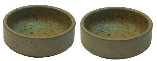 Namiba Terra 27212 Terra-Puzzle  Keramik-Wassernapf, rund Doppelpack, 11 cm,  grün glasier