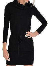 561aa940e6d113 Damen Elegant Kleider T-Shirt Kleid Langarmkleid Haufen Kragen Strandkleid  Lose Einfache Einfarbig Maxi Kleidet