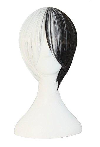 MapofBeauty mischfarbige kurze gerade Cosplay Perücke (schwarz/weiß) (Cosplay Gerade Schwarze Perücke)