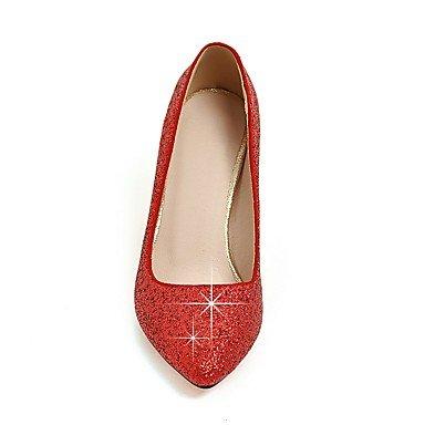 LYNXL Talloni delle donne Primavera Estate Autunno Inverno Wedding sintetica di feste ed abito da sera con paillettes Stiletto Heel Nero Rosso Argento Oro Red