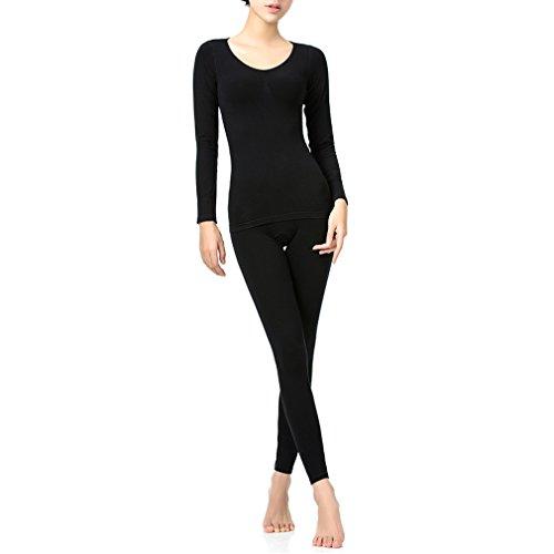 Comfortableinside da donna vita alta Doppio Petto 3d design elastico parte Set di biancheria intima termica in spugna Black