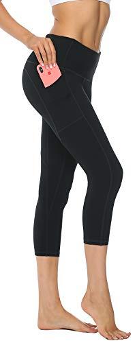 Persit Sport Leggins für Damen, 3/4 Sporthose Blickdicht Capri Tights Yogahose mit Taschen Schwarz-XL (Damen Capri Tights)