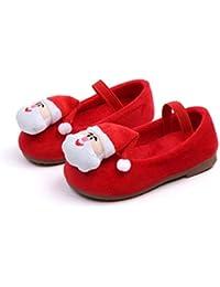 Oyamihin Zapatos de Invierno para niños Zapatos de Princesa Estilo navideño y Frijol de Terciopelo Suela Antideslizante Zapatos Ligeros para niñas - Rojo