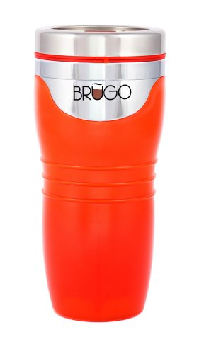 Brugo Bouteille isotherme NEUF 3ème génération anti-fuite Bouteille isotherme Mug de voyage avec chambre de contrôle de température intégré, sans BPA, Slice, Orange