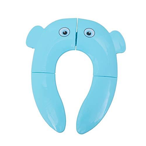 Cubierta del Asiento del Inodoro Plegable, Antideslizante Portátil Patrón de Elefante Almohadillas de Silicona para Bebés Niños Viajes, Uso en Hotel (Azul)