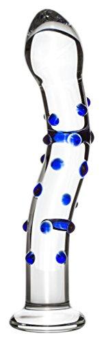 Gildo No. 6 Klassische Dildo aus Glas - Für G-Punkt und Prostata Stimulation - Deluxe Glas Dildo Geeignet für Temperaturspiel - Länge 18.20 cm, Ø 2.50 - 3.60 cm (Transparent mit blaue Details)