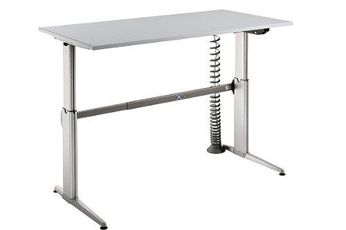 Schreibtisch Set Hammerbacher Serie XE 160 cm höhenverstellbar mit PC – Halterung & Kabelspirale in Dekor Lichtgrau - 2