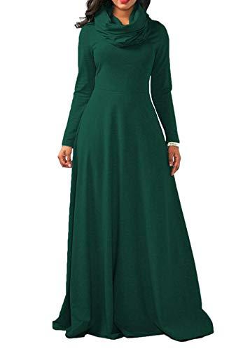 Huateng Frauen Plus Size Stehkragen Casual Lange Slim Fit Kleid Vintage Cocktailparty Sexy Baumwolle Bib Kleider